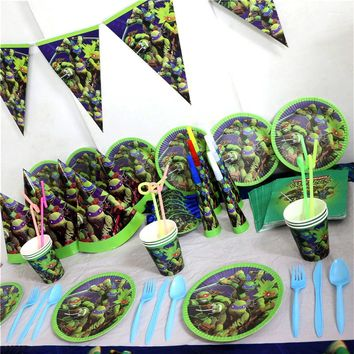 Ninja Turtles Theme Birthday Party Tablecover Boys Favors Banner Baby Shower Napkins Tablecloth Decoration Plates Cups 51pc/lot