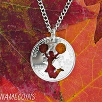 Cheerleader silhouette Quarter hand cut coin by NameCoins on Etsy