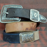 90's Brighton Two Tone Leather Concho Style Western Belt
