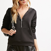 Zippered Stretch Knit Hoodie