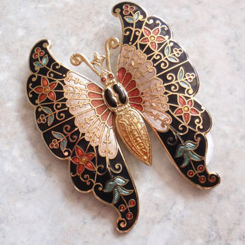 Butterfly Brooch Pin Fine Enamel Fish and Crown Large Vintage 022716PS