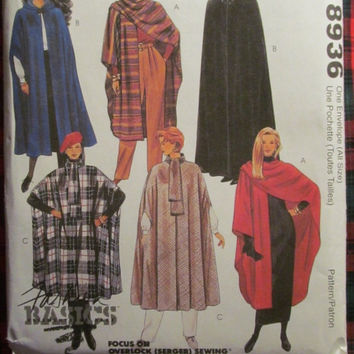 SALE Uncut McCall's Sewing Pattern, 8936! Small/Medium/Large/XL Women's/Misses Capes/Winter Coat/Cloak