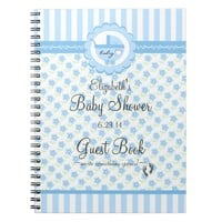 Blue Flowers and Carriage-Baby Shower Guest Book- Spiral Notebook