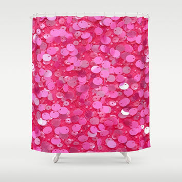 Pink Glitter Shower Curtain by Debra Ulrich