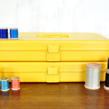 Vintage Yellow Sewing Box with Thread, Wilson Wil-Hold, Plastic Storage Box, Wooden Thread Spools