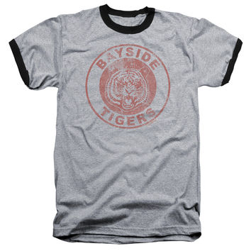 SAVED BY THE BELL/TIGERS - ADULT RINGER - HEATHER/BLACK - LG
