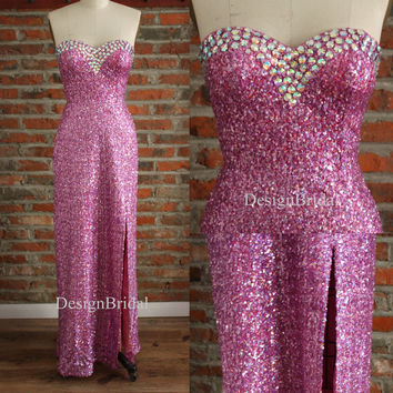 Sweetheart Prom Dresses,Hot Pink Sequin Dress,Beaded Wedding Party Dress,Sequin Long Cocktail Party Dress,Sexy Slit Long Dress