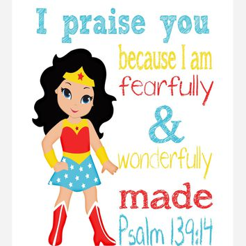 Wonder Woman Superhero Christian Nursery Decor Print - Fearfully & Wonderfully Made Psalm 139:14