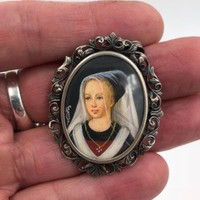 Victorian 800 Silver Hand Painted Miniature Portrait Brooch Pin Pendant