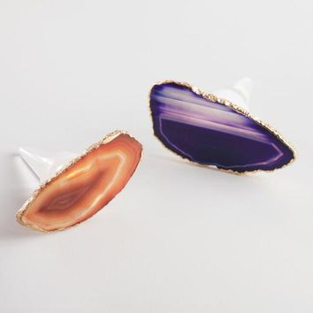 Agate Wine Stoppers Set of 2