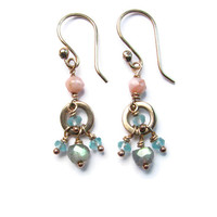 Mini Chandelier Earrings with Green Labradorite Blue Apetite and Peach Peruvian Opal - Boho Mermaid - Beach Goddess Inspired