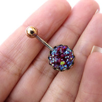 Garnet Maroon Rainbow Druzy Cluster Belly Button Ring Navel Piercing