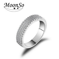 Moonso 925 Sterling Silver Band Rings for Women AAA zircon Wedding Engagement Rings for Women Jewelry T0802