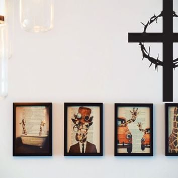 Bible Cross with Crown of Thorns Vinyl Wall Decal - Removable (Indoor)