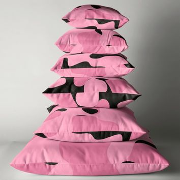 'Pink and Black abstract' Floor Pillow by Christy Leigh