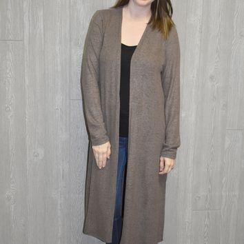 Waiting on Winter Long Cardigan: Mocha