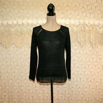 Womens Sweaters Black Sweater Pullover Sweater Goth Grunge See Through Sweater Boho Clothing Small Medium New Womens Clothing
