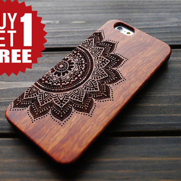 Rosewood PC Mandala iPhone 6 6s Case Holder , Solid iPhone 6 6s Wood PC Case Cover , Durable Wood PC iPhone 6 6s Protectore Case , Gift Idea