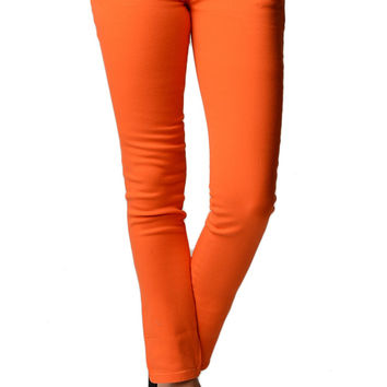 Orange Color Denim Skinny Jeans