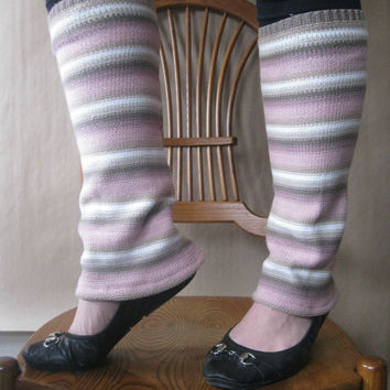Cotton LegWarmers - Bootcut in Pink Khaki and White Stripes : Upcycled Recycled Repurposed Fall Fashion Eco Friendly