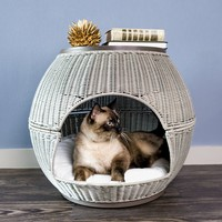 Devin Deluxe Wicker End Table Cat Bed