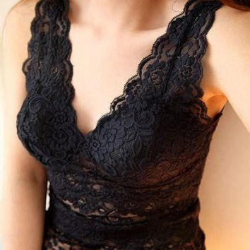 CREYHY3 Women sexy lace tank top vest deep V-neck corset camisole low-cut basic tank tops