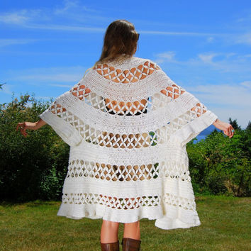 1960's White Crochet Duster Coat, Angel sleeve Hand Knit Shawl, Boho Hippie Chic Festival Top, Open Cardigan Jacket, 70's Crocheted Top