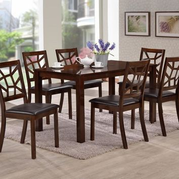 Baxton Studio Mozaika Wood and Leather Contemporary 7-Piece Dining Set Set of 1