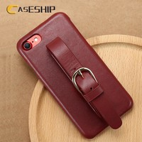 CASESHIP 100% Real Leather Case For iPhone 7 Case Wrist Strap Genuine Leather Phone Case Coque For iPhone 7 7 Plus Accessories