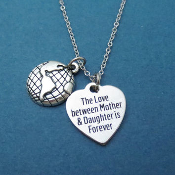 Long, Distance, Mother and daughter, Mom and daughter, Necklace, Heart, Love, Forever, Globe, Earth, Gift, Jewelry