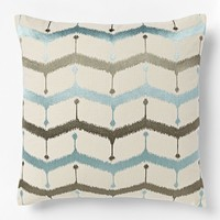 Embroidered Chevron Lattice Pillow Cover - Light Pool