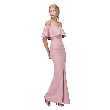 Long Formal Dusty Pink Dress Off Shoulder with V-Notch Ruffled Bodice
