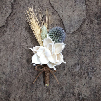 Handmade Wedding Boutonnieres- Sola Pea Rose Flower Boutonnieres, Wheat Boutonnieres, Phalaris Boutonnieres, Thistle, Twine, Country Rustic