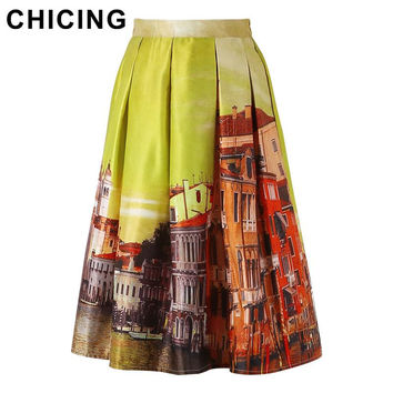 CHICING New 2016 Women Fashion Midi Skirts Yellow Vintage City Street Print Pleated High Waist Flared Tutu Circle Skirt A1512008
