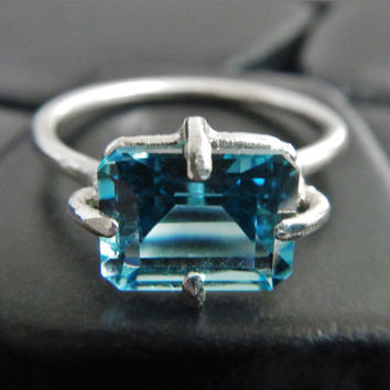 Swiss Blue Topaz and Sterling Silver Ring, Emerald Cut Stone, Topaz Ring, December Birthstone Ring, Blue Gemstone Ring, Genuine Topaz Ring
