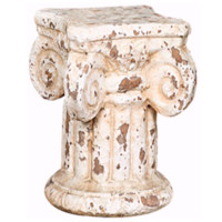 Distressed Cream Pedestal Candle Holder