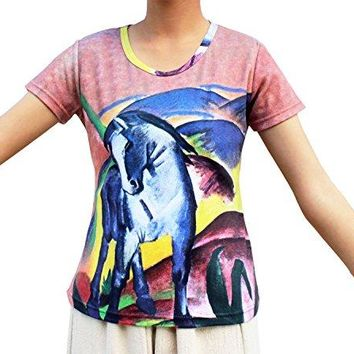 Raan Pah Muang Franz Marc The Blue Horse Ladies German Expressionist Painting Shirt