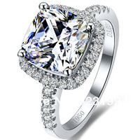3 Carat Halo Style Cushion Cut Brilliant Vintage SONA Synthetic Diamond Engagement Weeding Ring Statement Jewelry Gift