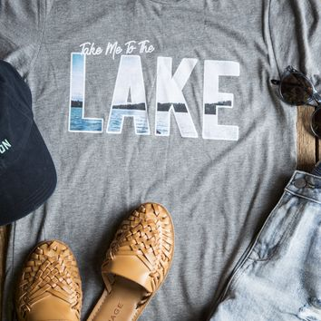 Take Me To The Lake Tee, Heather Grey