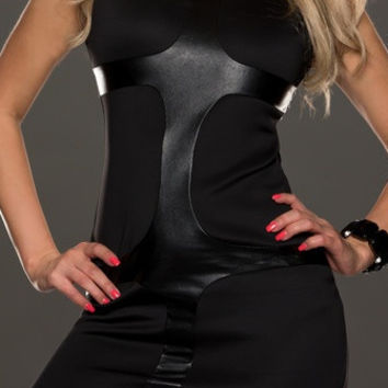 Sleeveless Black Bodycon Dress with Black Leather Details