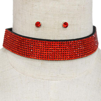 "14"" crystal felt choker bib collar necklace .25"" earrings .90"" wide 9 lines"