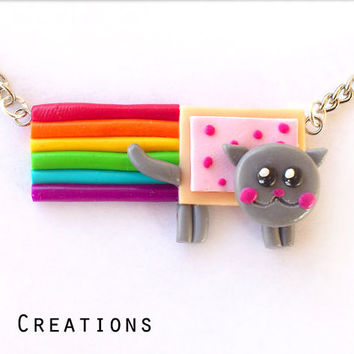 SUPER SALE Nyan Cat Necklace - Rainbow Pop Tart - Kawaii Jewelry - Miniature Necklace - Cute Food Miniature - Cheap Gift - Sale Jewelry