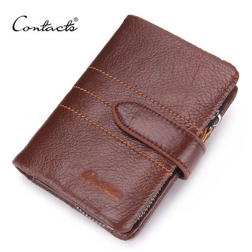Men Wallet 100% Genuine Leather Wallet Delectable Zip Coin Pocket Men Purse High Class Money Bag Credit Card Holders
