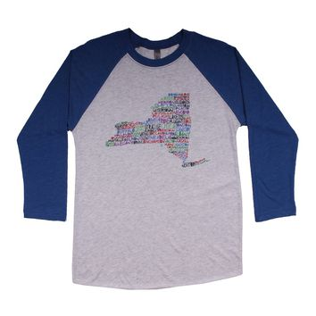 New York Cities and Towns Raglan Tee Shirt in Royal Blue by Southern Roots