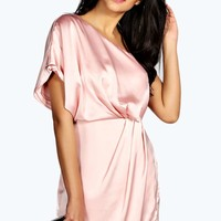 Arabella Silky Draped Dress