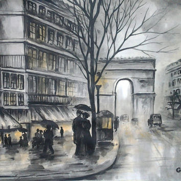 Rain In Paris - Original Watercolor -The Arch Of Triumph - Rainy Cityscape - Umbrella Painting - Contemporary Fine Art By Gargovi