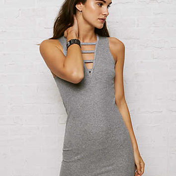 Don't Ask Why Ribbed Bodycon Dress, Stone Gray