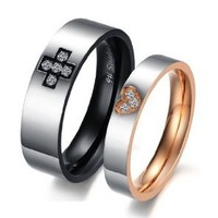 """Stainless Steel 18k Plated Cz """"Cross & Heart"""" Engraved Couple Rings Set for Engagement, Promise, Eternity R018 (His Size 7,8,9,10; Hers Size 5,6,7,8). Please Email Sizes"""