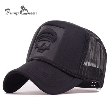 Trendy Winter Jacket Pump Queen 2018 Hip Hop Skeleton Print Curved Baseball Caps Summer Mesh Snapback Hats For Women Men casquette Trucker Cap AT_92_12