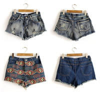 SakuraShop — Cross Ethnic Embroidery Denim Shorts